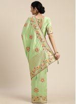 Silk Embroidered Sea Green Designer Traditional Saree