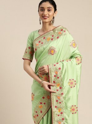 Silk Embroidered Sea Green Designer Traditional Saree