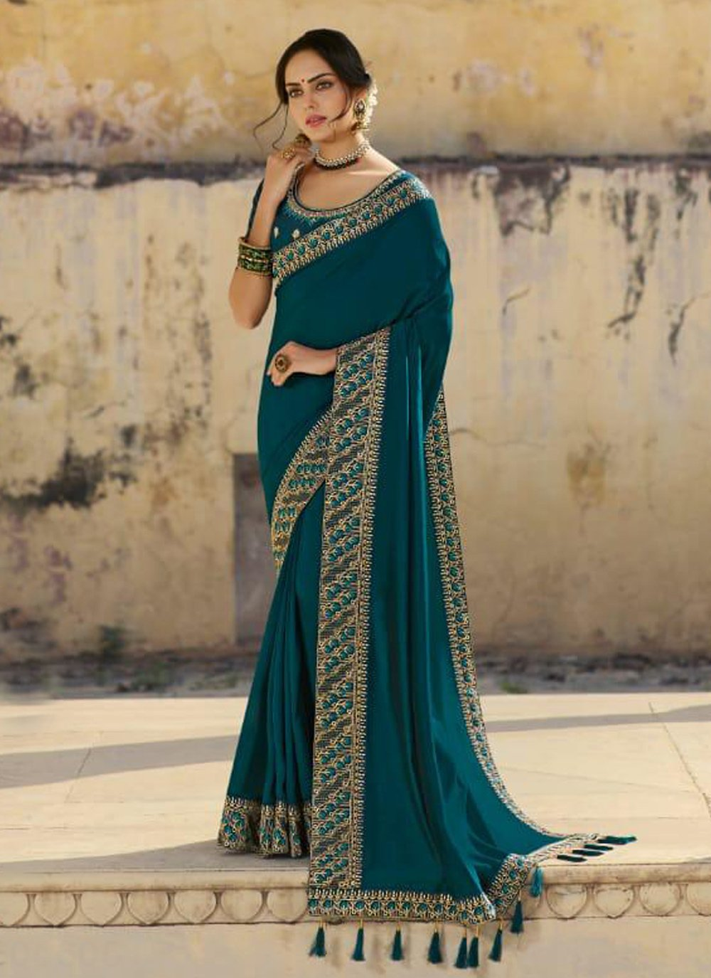 Silk Embroidered Teal Traditional Designer Saree