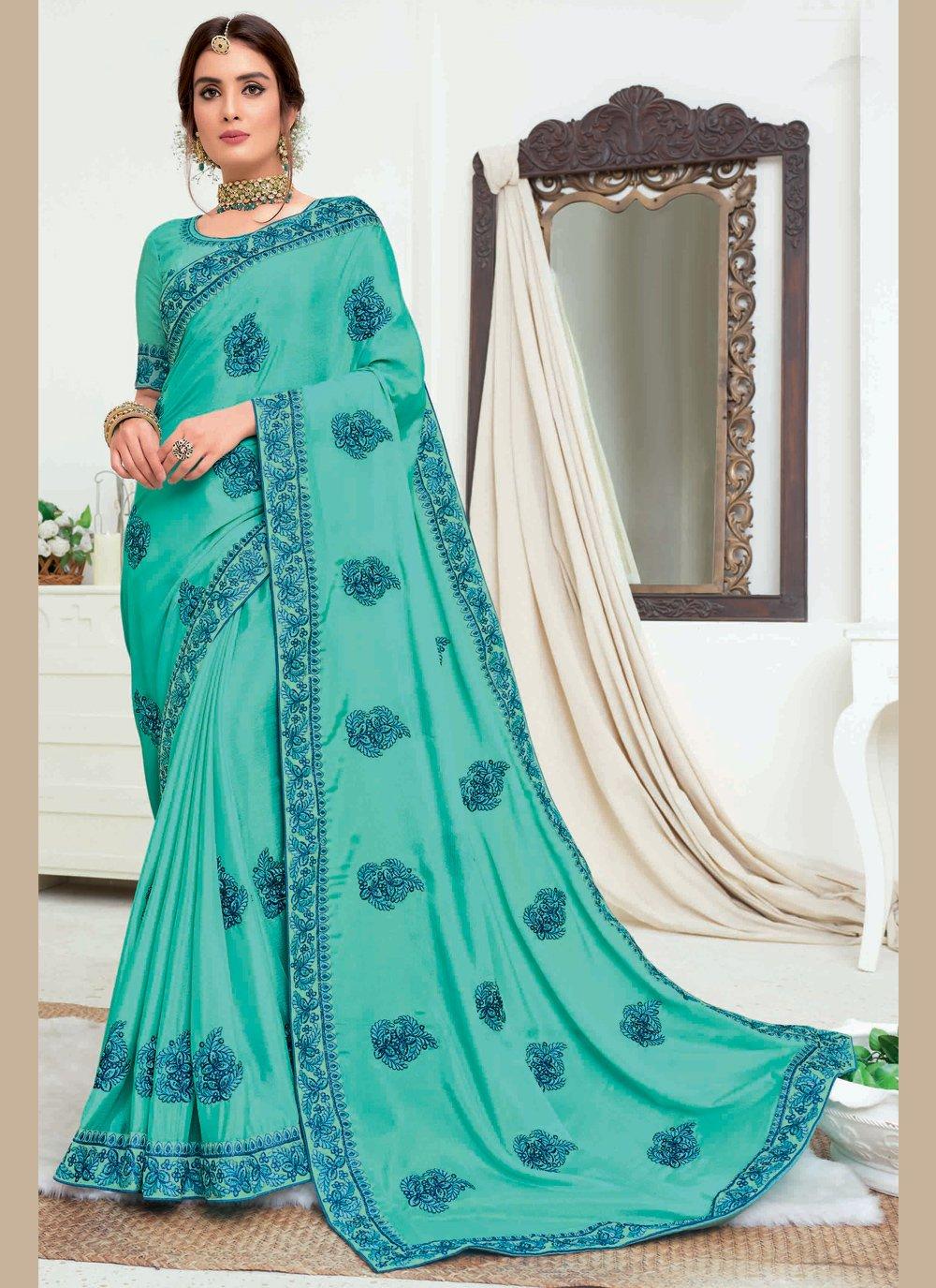 Silk Embroidered Traditional Designer Saree in Aqua Blue