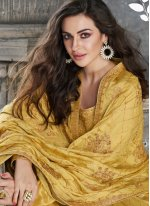 Silk Embroidered Yellow Designer Palazzo Suit