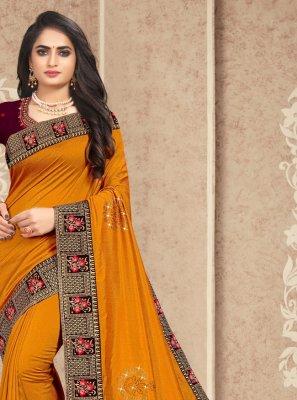 Silk Embroidered Yellow Traditional Designer Saree
