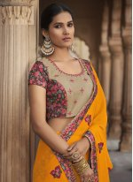 Silk Embroidered Yellow Traditional Saree