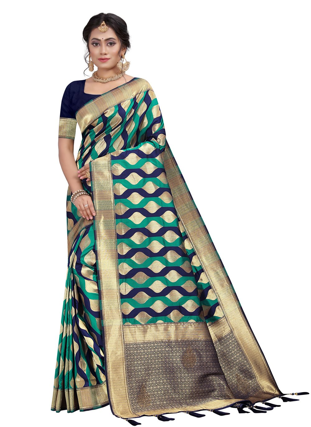Silk Fancy Blue and Sea Green Designer Traditional Saree