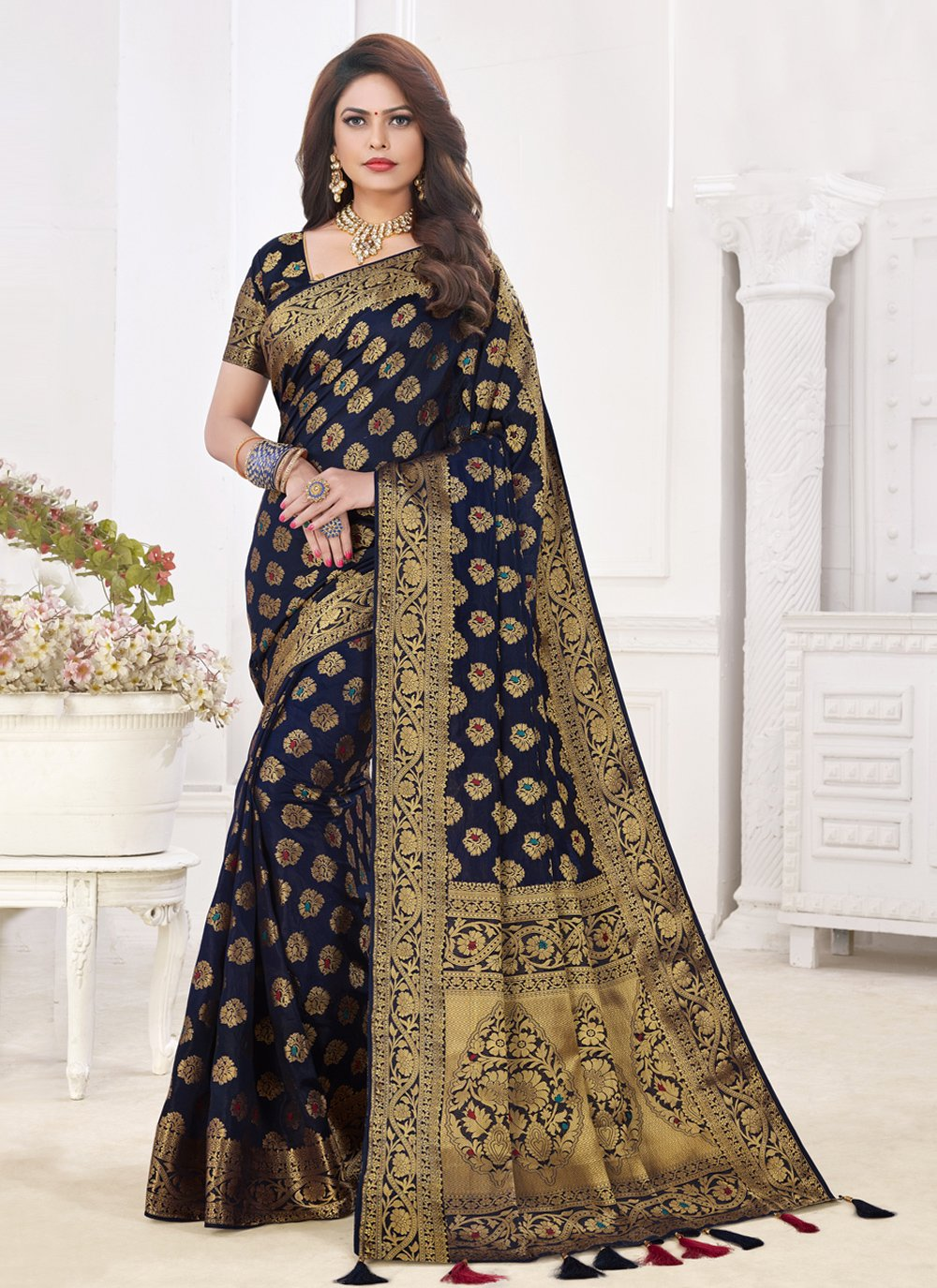 Silk Fancy Blue Traditional Designer Saree