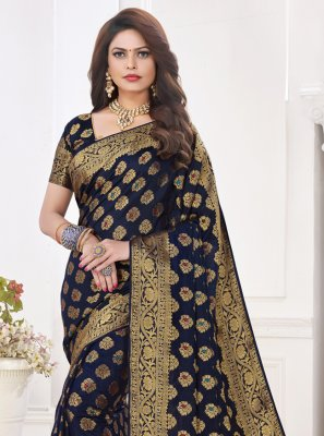 Silk Fancy Blue Traditional Designer Saree