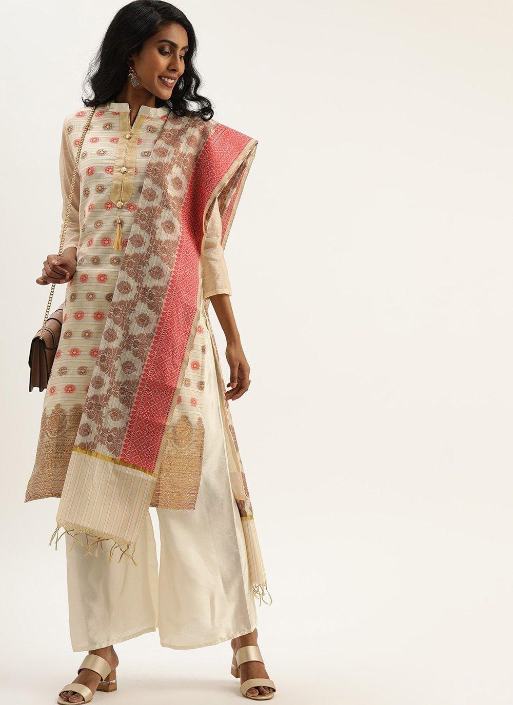 Silk Fancy Off White Designer Pakistani Suit