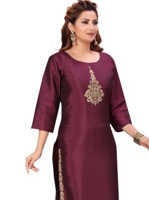 Silk Fancy Party Wear Kurti in Wine