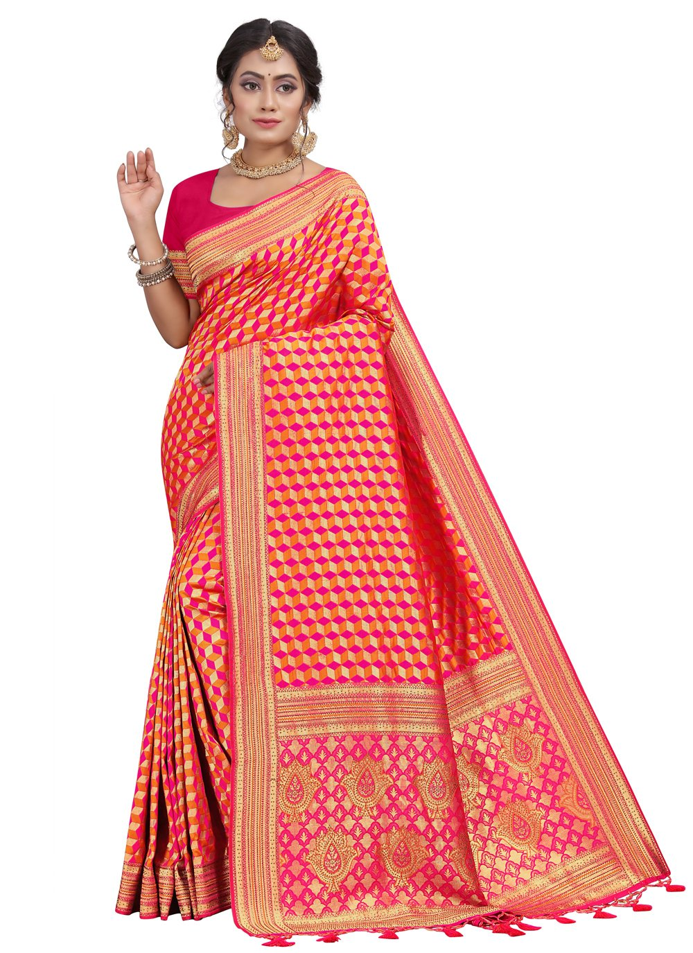 Silk Fancy Pink Traditional Saree