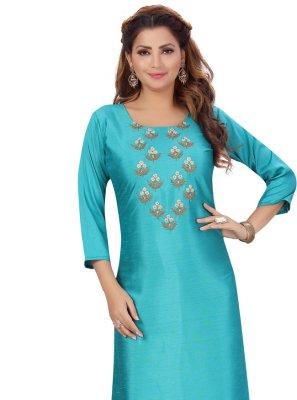 Silk Fancy Rama Party Wear Kurti