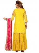 Silk Fancy Readymade Suit in Yellow