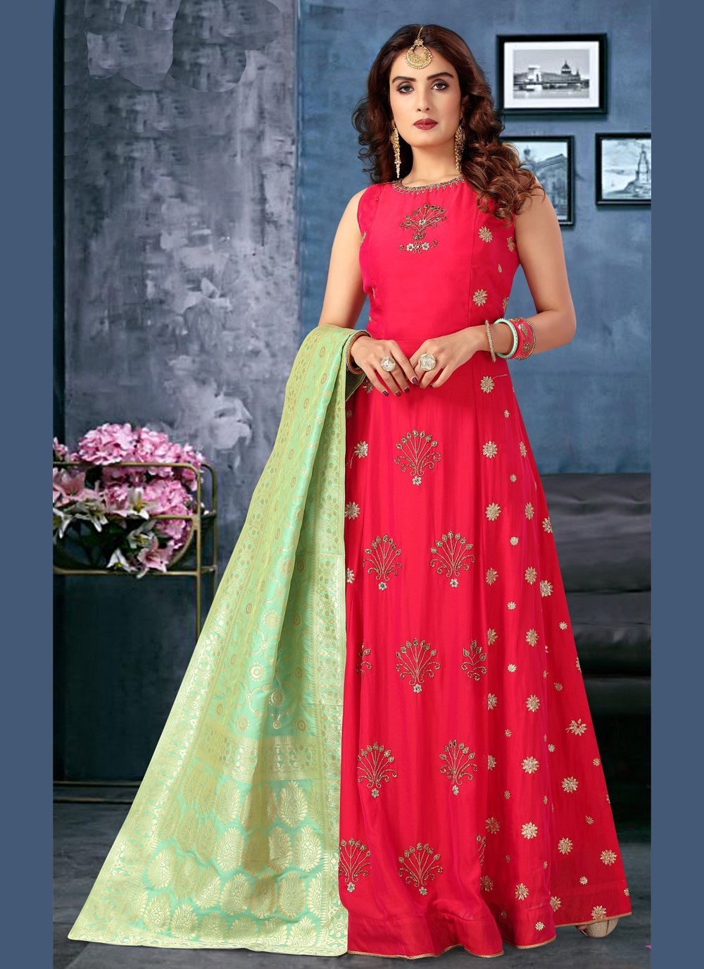 Silk Floor Length Anarkali Suit