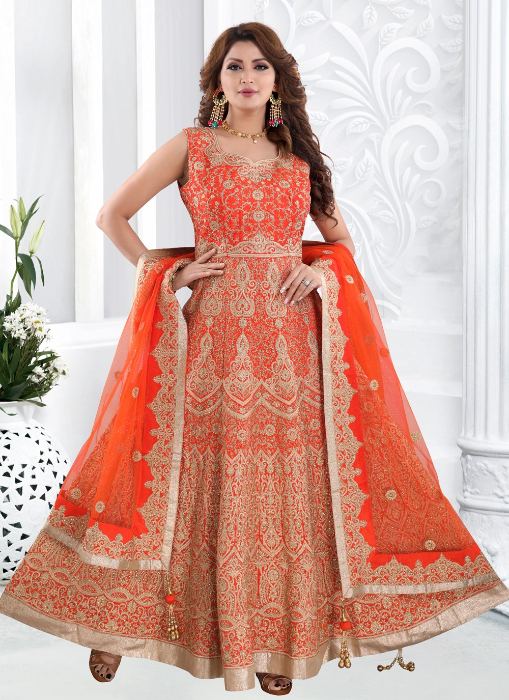 Silk Floor Length Anarkali Suit in Orange