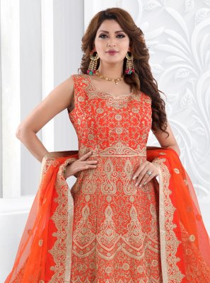 Silk Floor Length Anarkali Suit in Orange