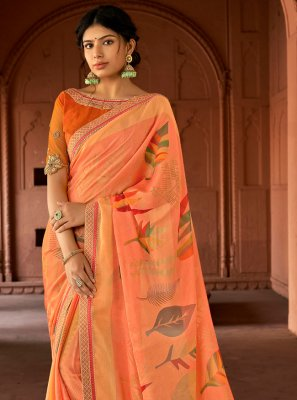 Silk Floral Print Peach Printed Saree