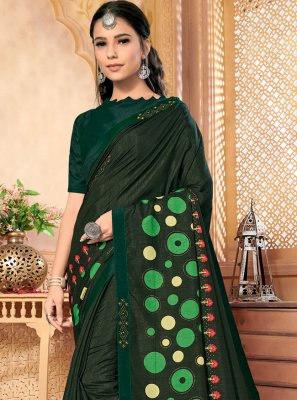 Silk Foil Print Green Contemporary Saree