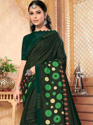Silk Foil Print Green Contemporary Saree