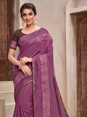 Silk Foil Print Purple Classic Designer Saree