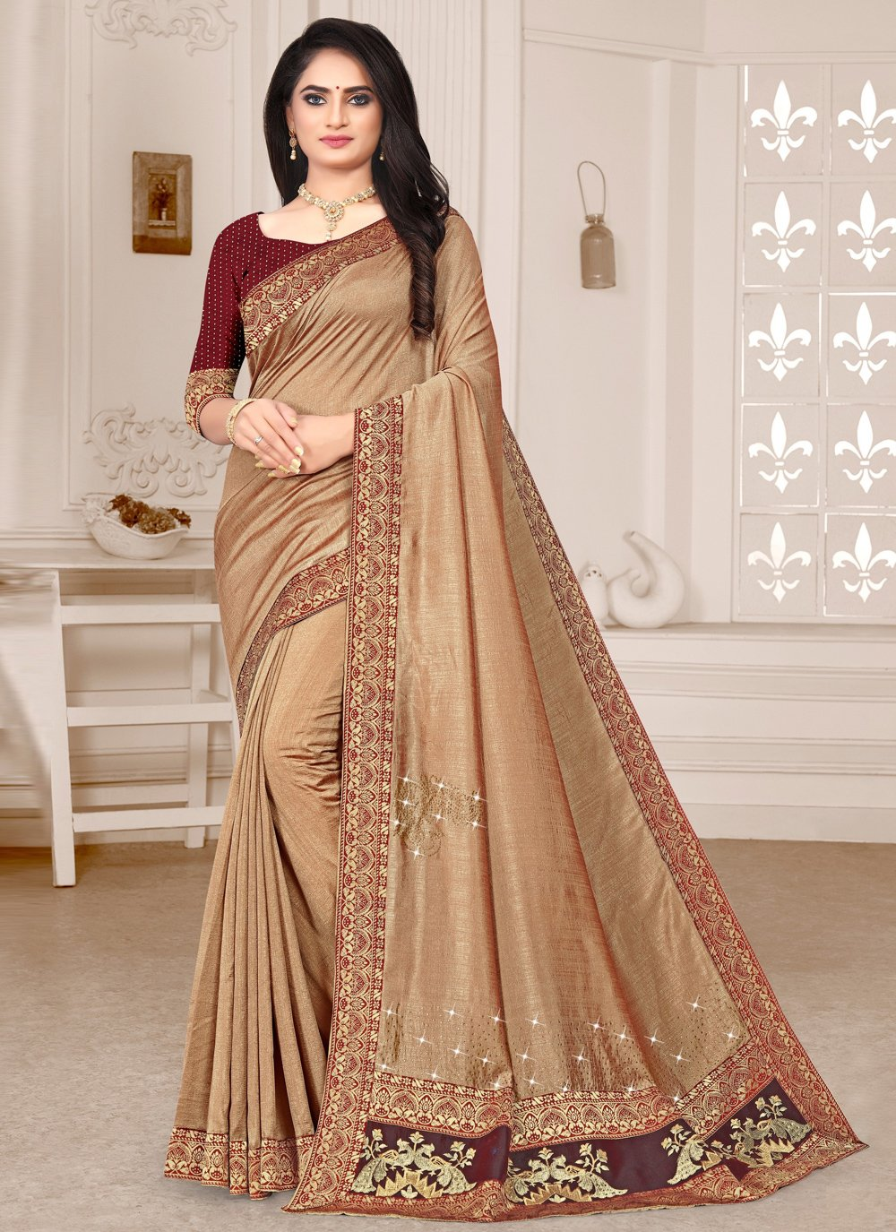 Silk Gold Embroidered Contemporary Saree