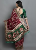 Silk Green and Maroon Designer Traditional Saree