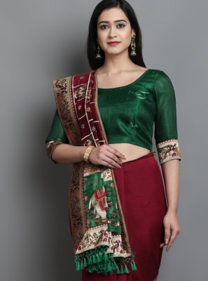 Silk Green and Maroon Designer Traditional Saree