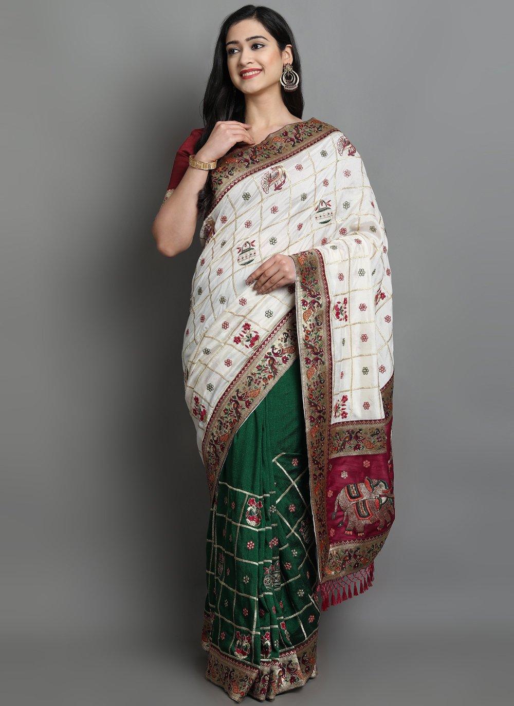 Silk Green and Off White Patola Print Designer Traditional Saree