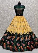 Silk Green and Yellow Embroidered Lehenga Choli