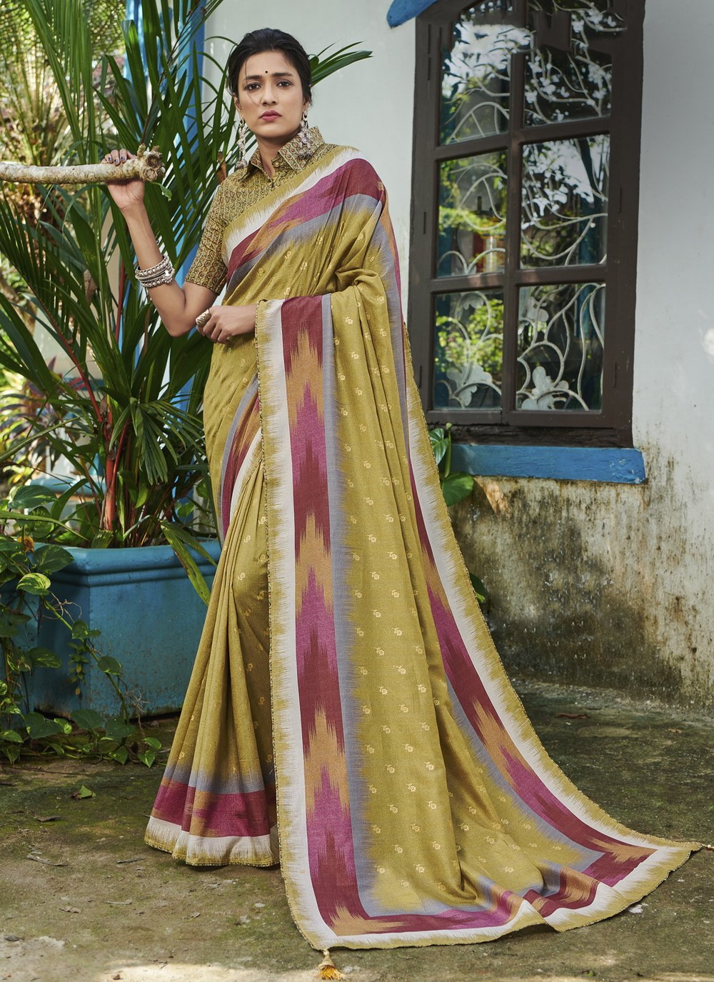 Silk Green Digital Print Contemporary Saree
