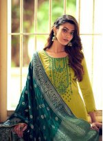 Silk Green Embroidered Designer Palazzo Salwar Suit