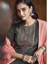 Silk Green Embroidered Designer Palazzo Suit