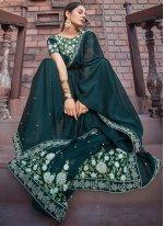 Silk Green Embroidered Designer Saree