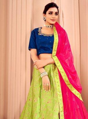 Silk Green Lace Lehenga Choli