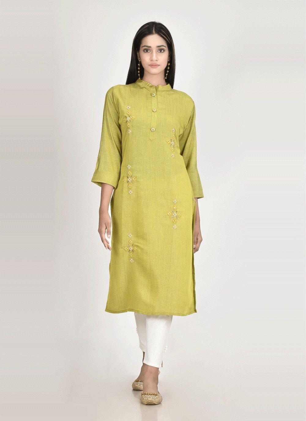 Silk Green Party Wear Kurti