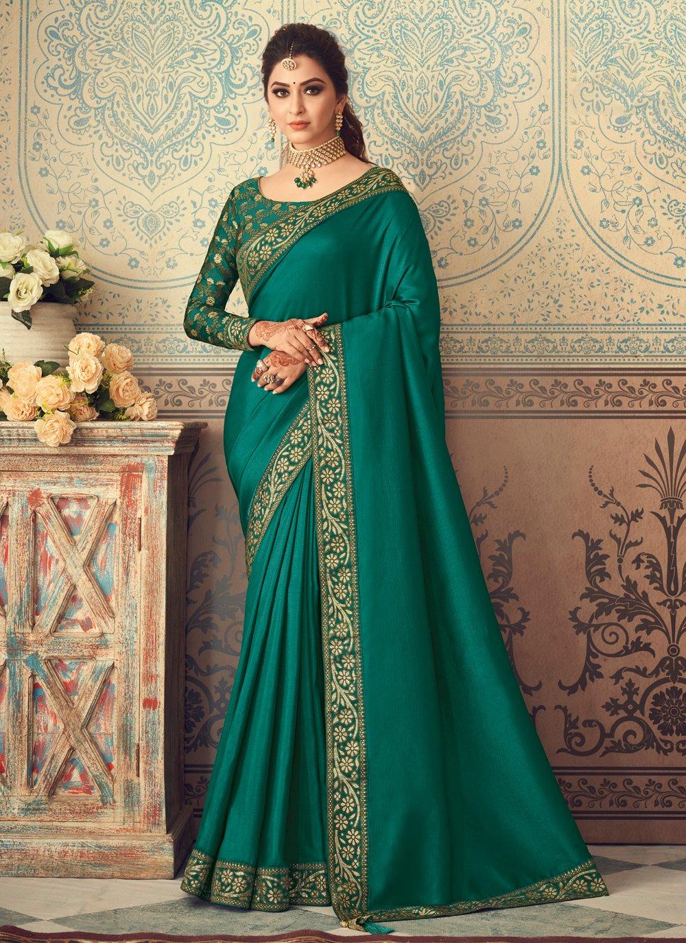 Silk Green Patch Border Traditional Designer Saree