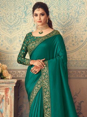 Silk Green Patch Border Traditional Designer Saree