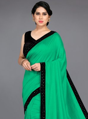 Silk Green Patch Border Traditional Saree