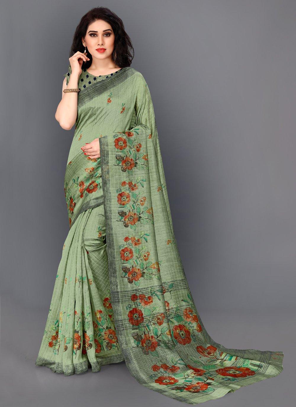 Silk Green Printed Contemporary Saree