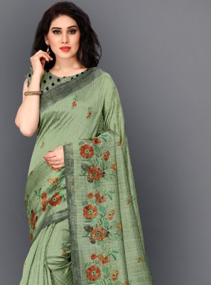 Silk Green Printed Contemporary Saree