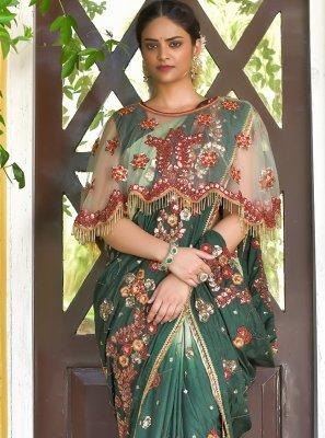 Silk Green Sequins Designer Traditional Saree