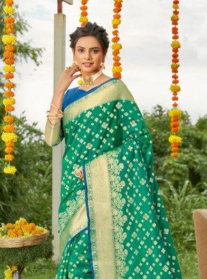 Silk Green Weaving Designer Saree