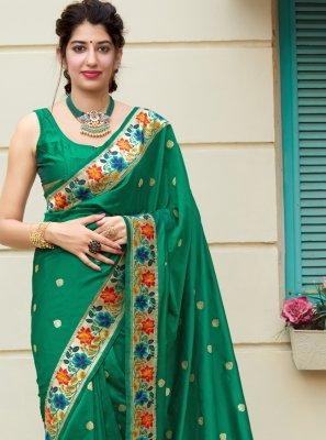 Silk Green Weaving Traditional Designer Saree