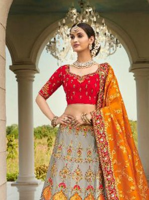 Silk Grey and Red Patch Border Lehenga Choli