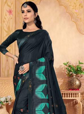 Silk Grey Foil Print Designer Saree