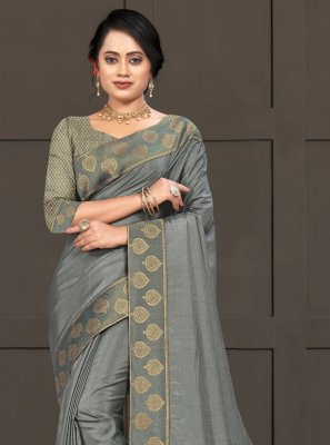 Silk Grey Lace Classic Saree
