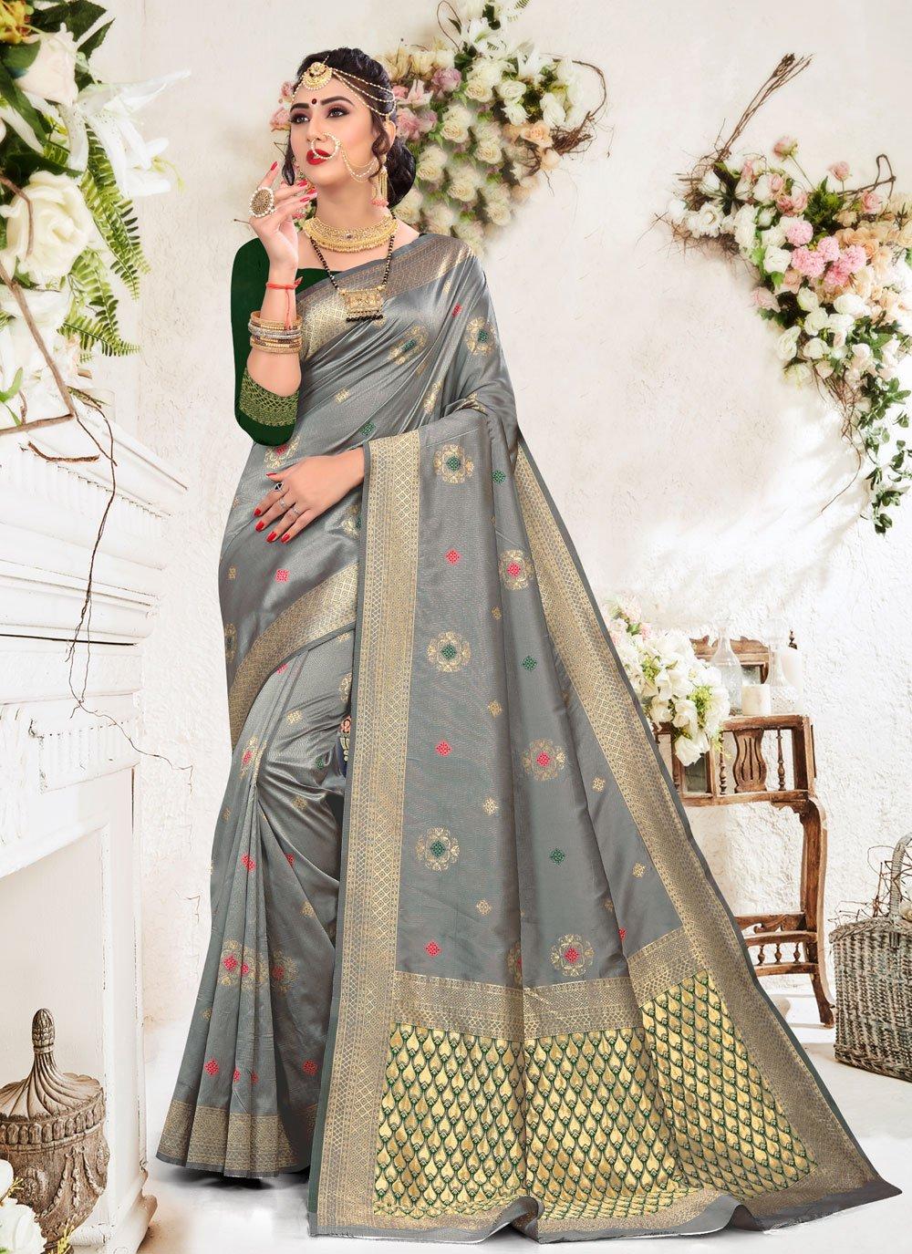 Silk Grey Traditional Saree