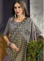 Silk Grey Trendy Saree