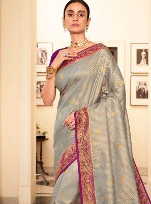 Silk Grey Weaving Contemporary Saree