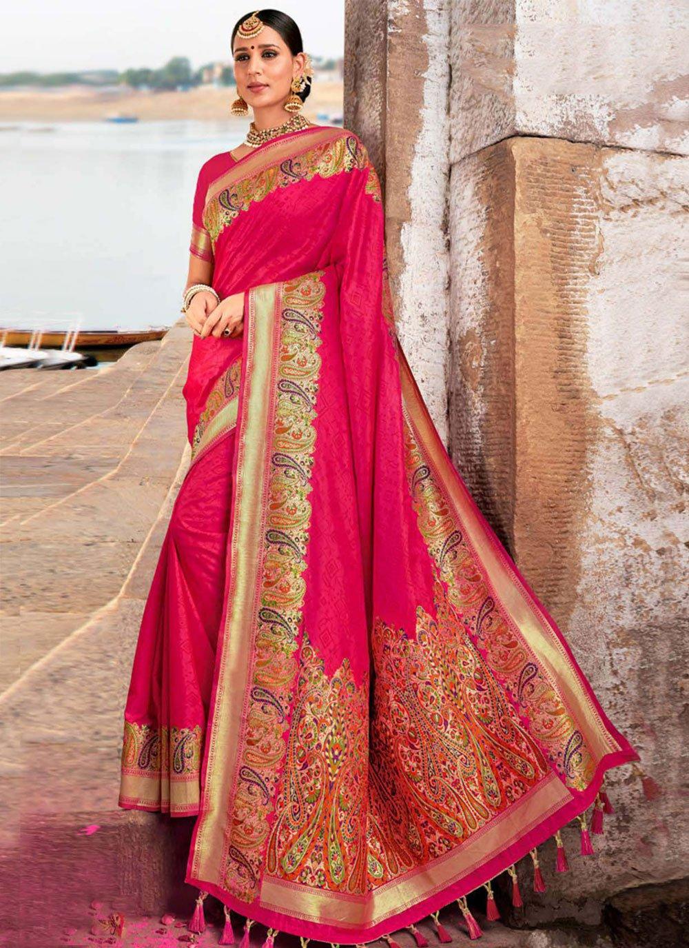 Silk Hot Pink Designer Traditional Saree