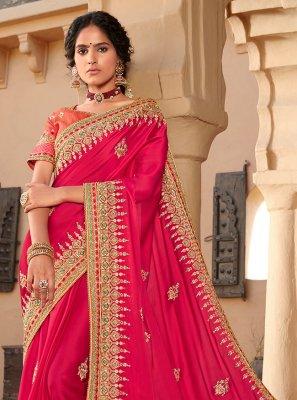 Silk Hot Pink Embroidered Designer Saree