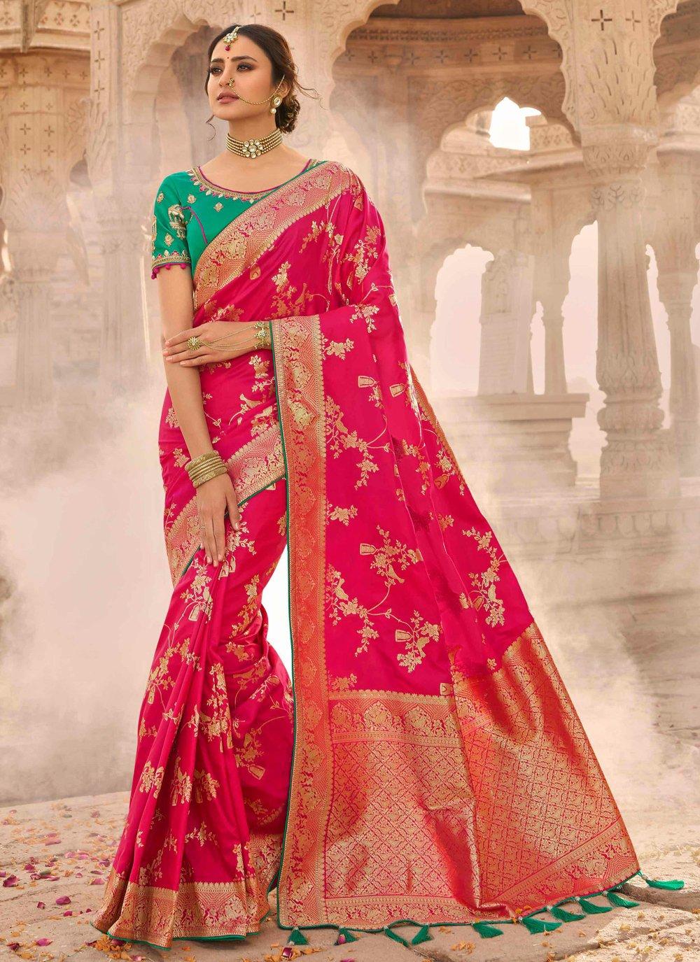 Silk Hot Pink Embroidered Designer Traditional Saree